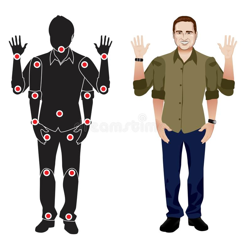 Young man cartoon character in formal shirt, animation ready vector doll with separate joints. Gestures. FOR ANIMATION. man character in shirt, doll with vector illustration