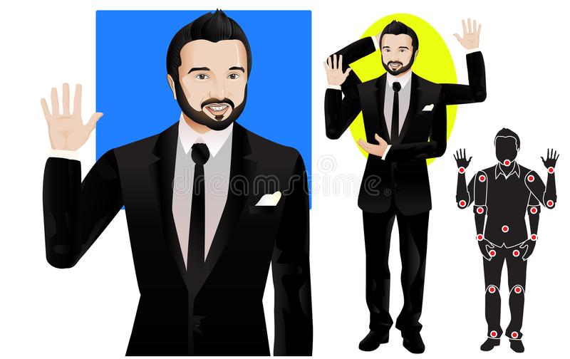 Caucasian young man character in formal suit, ready for animation, vector doll with separate joints. Gestures and expressions. FOR ANIMATION. man character in stock illustration