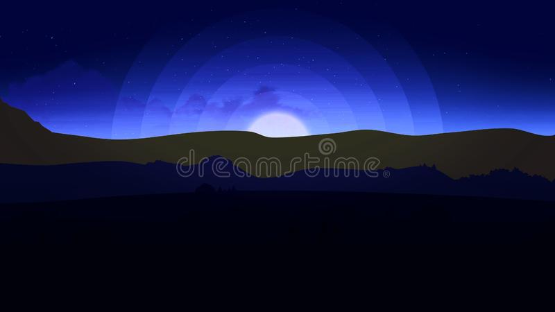 Animation of Night Sky With Clouds. Animated Cartoon Desert Dunes on a Starry Night with Moon. Moon with Stars and stock illustration