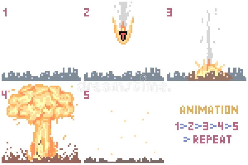 Animation nucléaire d'art de pixel de vecteur illustration stock
