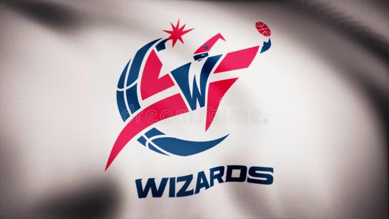 Animation ondulant dans le drapeau de vent du club Washington Wizards de basket-ball Utilisation éditoriale seulement photos stock