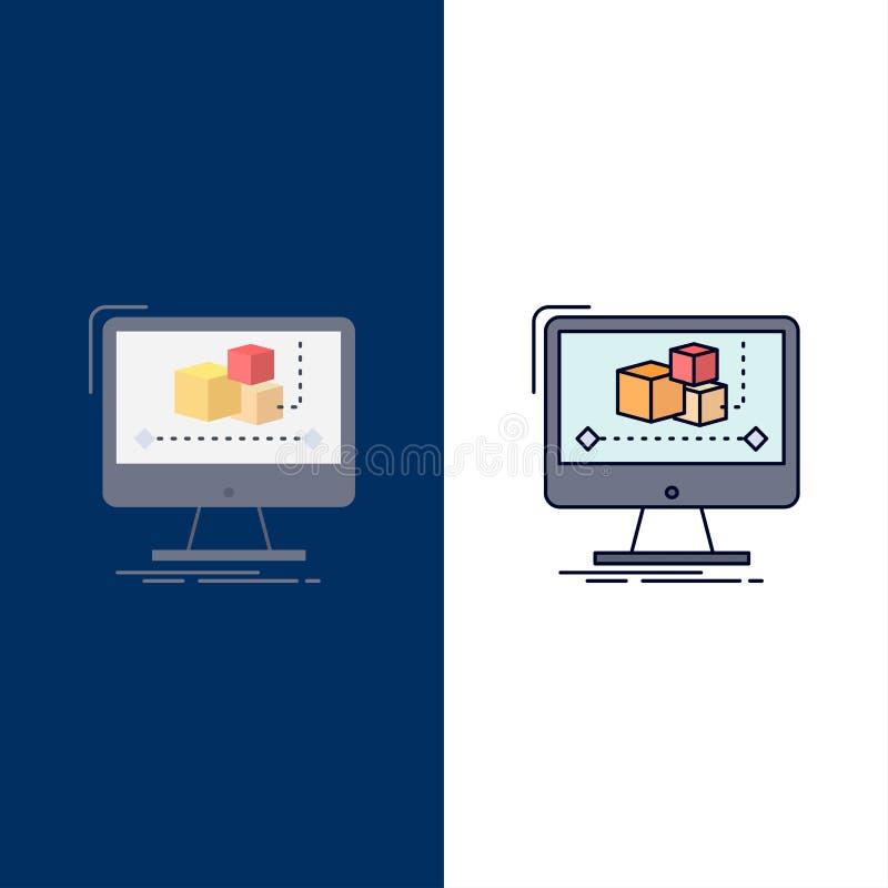 Animation, ordinateur, rédacteur, moniteur, vecteur plat d'icône de couleur de logiciel illustration de vecteur