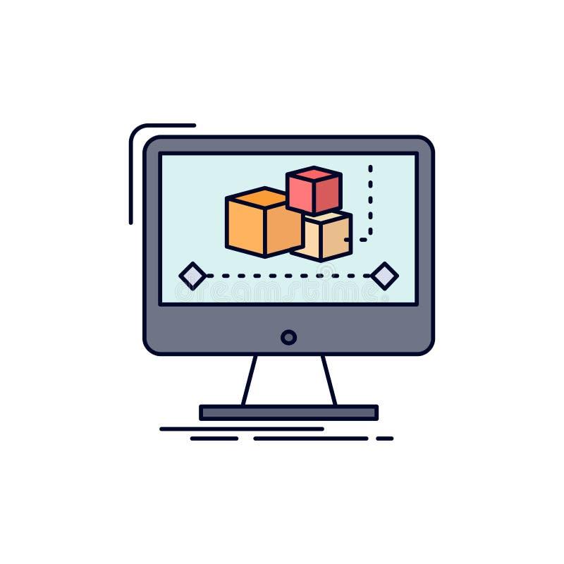 Animation, ordinateur, rédacteur, moniteur, vecteur plat d'icône de couleur de logiciel illustration stock