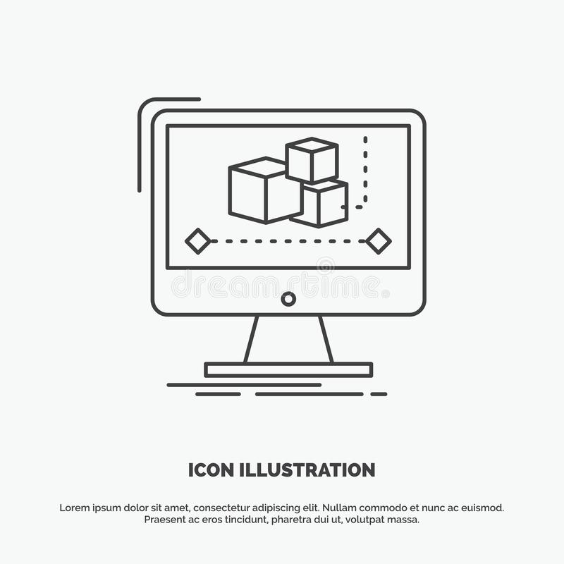 Animation, ordinateur, r?dacteur, moniteur, ic?ne de logiciel r illustration stock