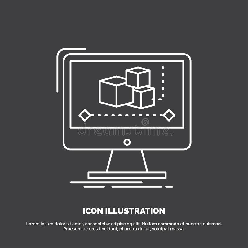 Animation, ordinateur, r?dacteur, moniteur, ic?ne de logiciel Ligne symbole de vecteur pour UI et UX, site Web ou application mob illustration de vecteur