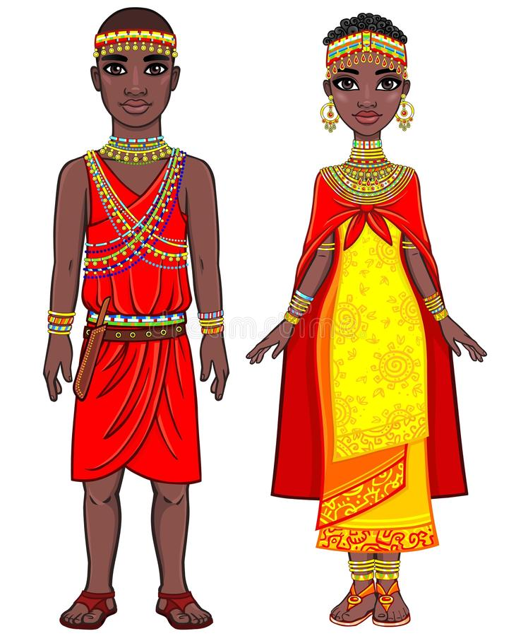 Animation portrait of the African family in ethnic clothes. vector illustration