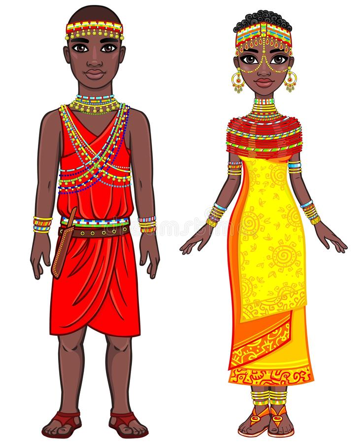 Animation portrait of the African family in ethnic clothes. royalty free illustration