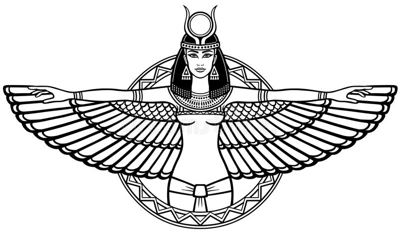 Animation portrait of the ancient Egyptian winged goddess. royalty free illustration