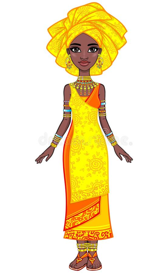 Animation portrait of the attractive African girl in a turban. Bright ethnic clothes. Full growth. The vector illustration isolated on a white background stock illustration