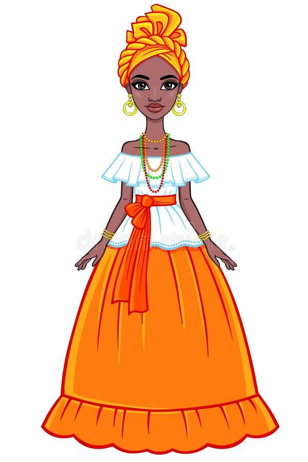 Animation portrait of the attractive Brazilian girl. Bright ethnic clothes. Full growth. stock illustration