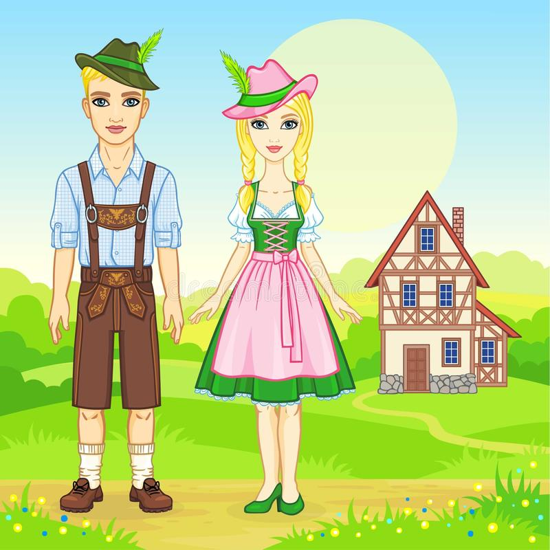 Animation portrait of the Bavarian family in ancient traditional clothes. Background - a summer landscape, the old house. Fairy tale character, card, poster royalty free illustration