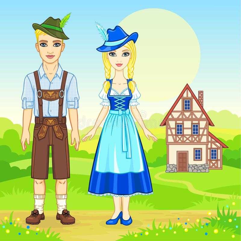 Animation portrait of the Bavarian family in ancient traditional clothes. Background - a summer landscape, the old house. Fairy tale character, card, poster vector illustration