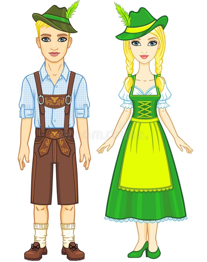Animation portrait of the Bavarian family ancient traditional clothes. Full growth. The vector illustration on a white background royalty free illustration