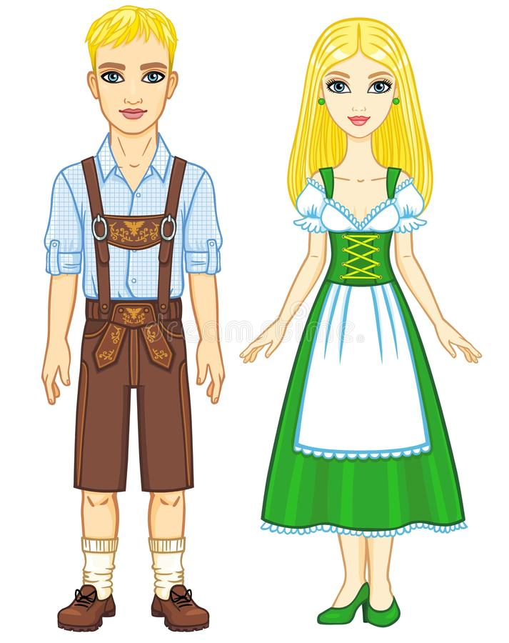 Animation portrait of the Bavarian family ancient traditional clothes. royalty free illustration