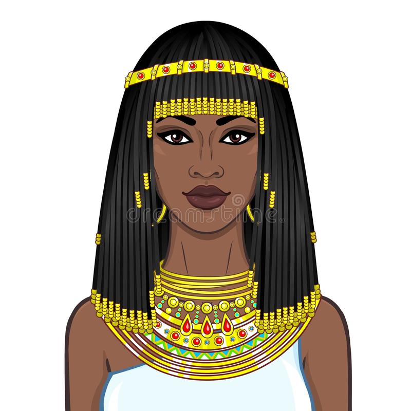 Animation portrait of the beautiful African woman in ancient jewelry and Afro-hair. stock illustration