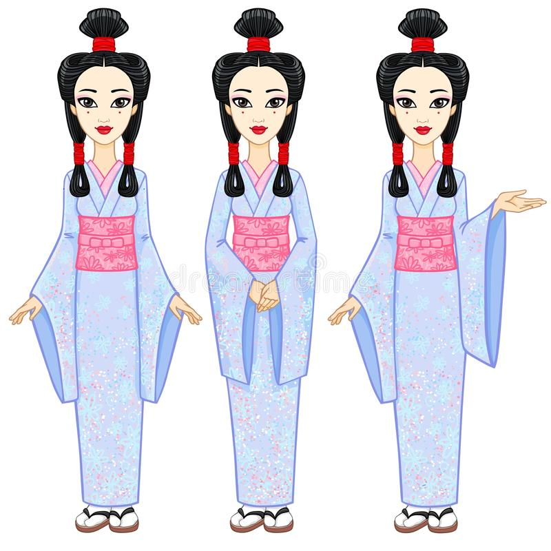 Animation portrait the beautiful Japanese girl in three different poses. Geisha, Maiko, Princess. Full growth. vector illustration