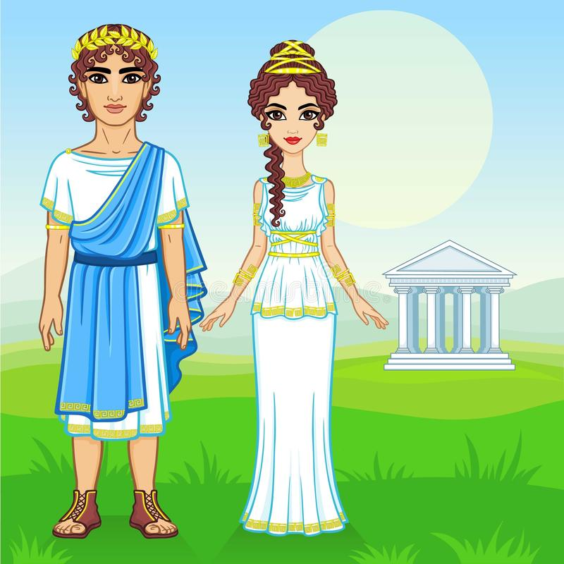 Animation portrait of a family in clothes of Ancient Greece. royalty free illustration