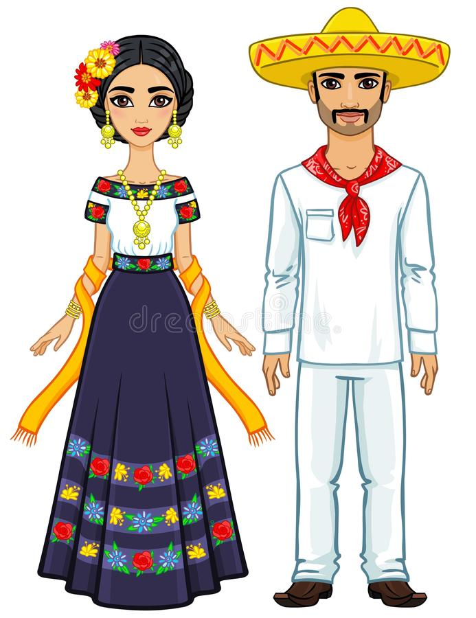 Free Animation Portrait Of The Mexican Family In Ancient Festive Clothes. Royalty Free Stock Photos - 102311658