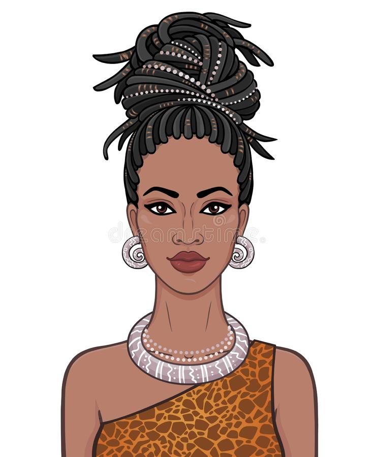 Free Animation Portrait Of The Young Beautiful African Woman In A Dreadlocks. Royalty Free Stock Images - 129083559