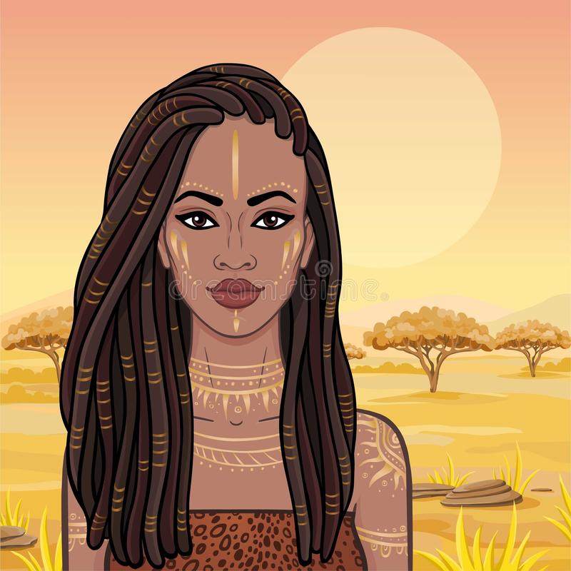 Free Animation Portrait Of The Young Beautiful African Woman In A Dreadlocks. Stock Photography - 129803232