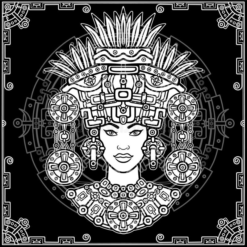 Animation portrait of the pagan goddess based on motives of art Native American Indian. Monochrome decorative drawing. Vector illustration. Background - a stock illustration