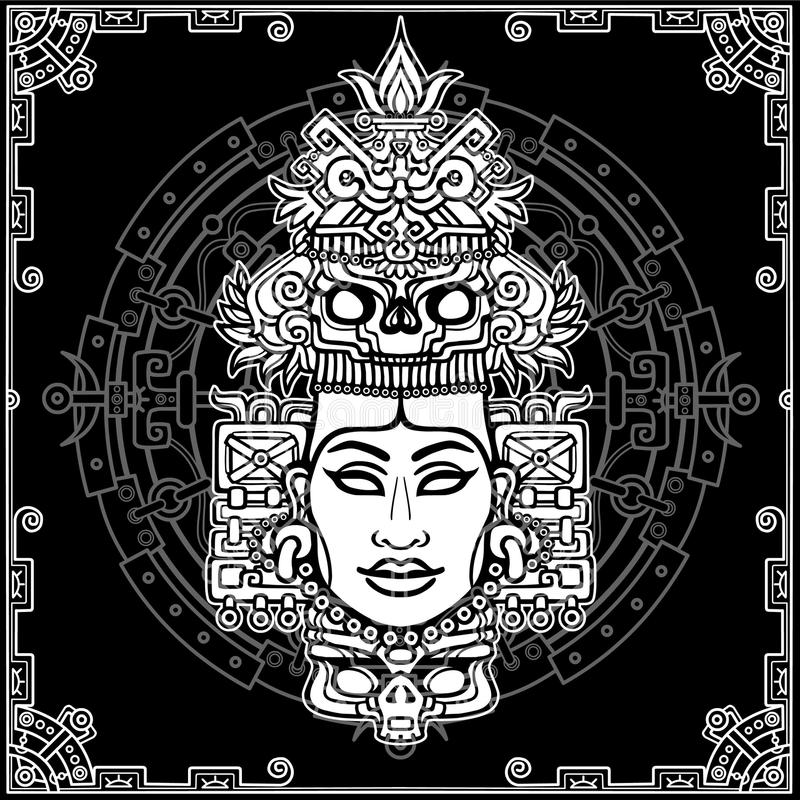Animation portrait of the pagan goddess based on motives of art Native American Indian. Monochrome decorative drawing. Vector illustration. Background - a vector illustration