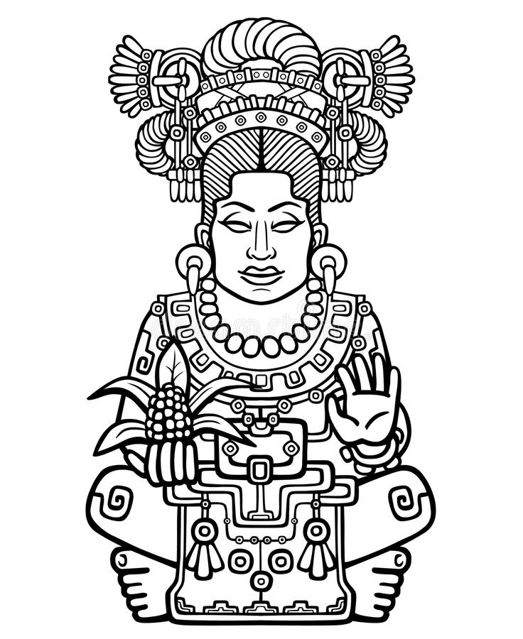 Animation portrait of the pagan goddess based on motives of art Native American Indian. Monochrome linear drawing isolated on a white background. Vector stock illustration