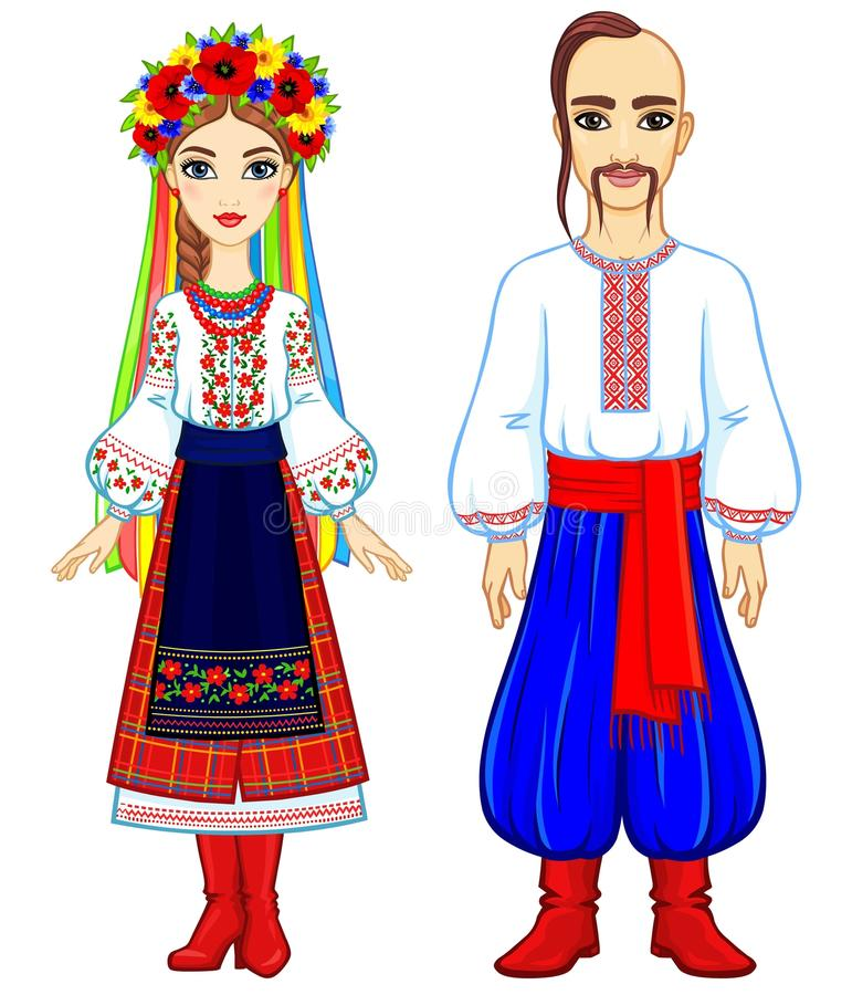 Animation portrait of the Ukrainian family in national clothes. Full growth. Eastern Europe. Vector illustration isolated on a white background stock illustration