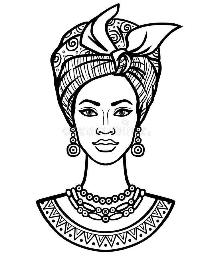 Animation Portrait Of The Young African Woman In A Turban Stock Vector