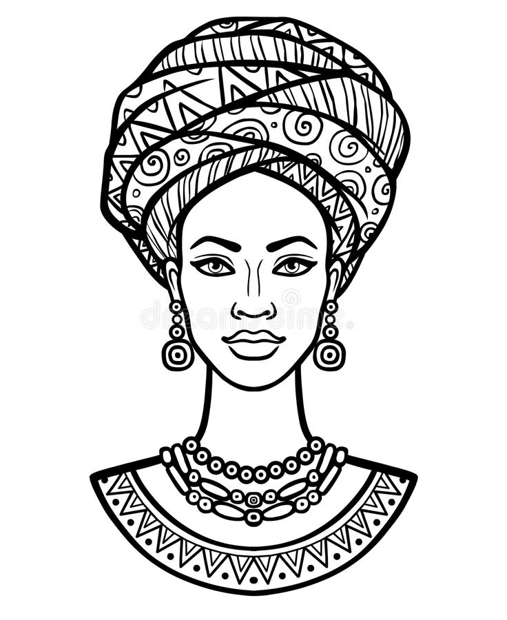 Animation portrait of the young African woman in a turban. Monochrome linear drawing. Vector illustration isolated on a white background. Print, poster, t stock illustration