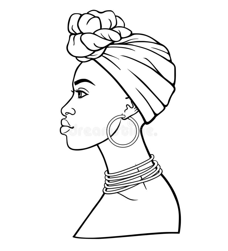 Animation portrait of the young African woman in a turban. Profile view. Monochrome linear drawing. Vector illustration isolated on a white background. Print stock illustration