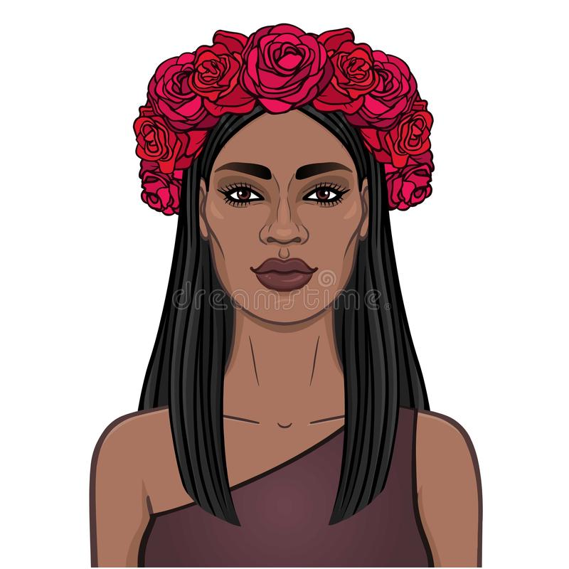 Animation portrait of the young beautiful African woman with long black hair and wreath of red roses. stock illustration
