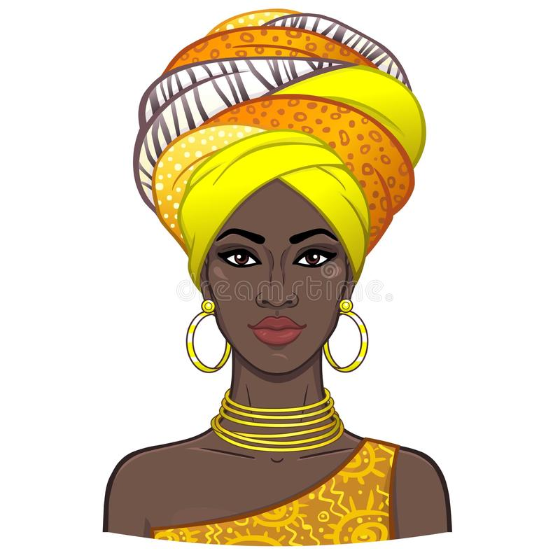 Animation portrait of the young beautiful African woman in a turban. royalty free illustration