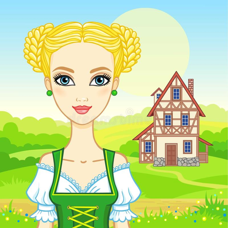 Animation portrait young beautiful girl in an ancient Bavarian dress. Background - a summer landscape, the old house. Fairy tale character, card, poster, print stock illustration