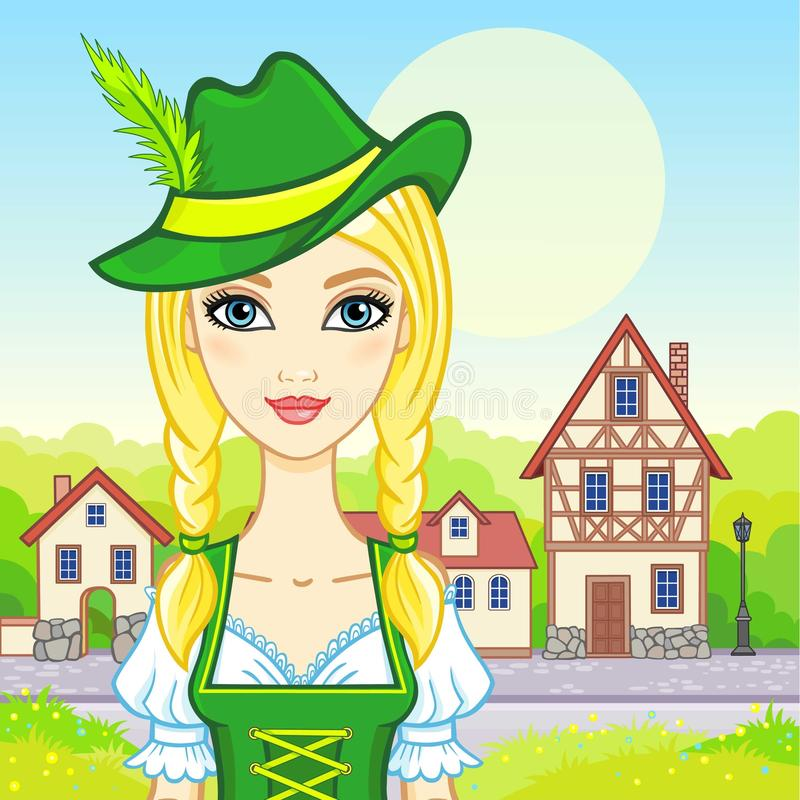 Animation portrait young girl in an ancient Bavarian dress. Background - a colourful landscape, ancient European street, decorative house. Vector illustration stock illustration