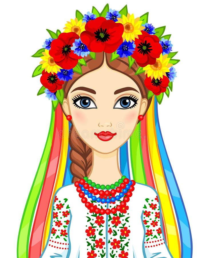 Animation portrait of the young Ukrainian girl in traditional clothes. A wreath and tapes. Vector illustration isolated on a white background vector illustration