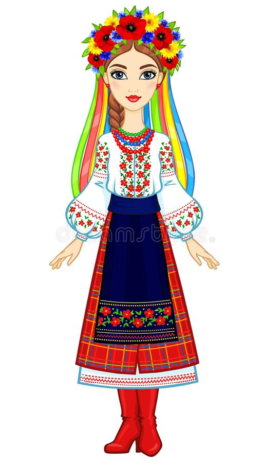 Animation portrait of the young Ukrainian girl in traditional clothes. A wreath and tapes. Full growth. Vector illustration isolated on a white background stock illustration