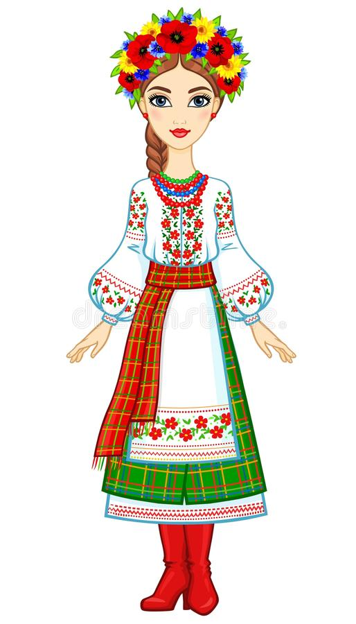 Animation portrait of the young Ukrainian girl in traditional clothes. Full growth. Vector illustration isolated on a white background royalty free illustration