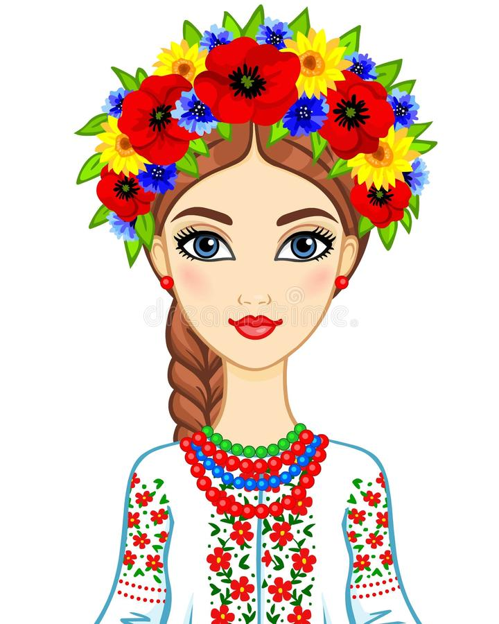 Animation portrait of the young Ukrainian girl in traditional clothes. Vector illustration isolated on a white background vector illustration