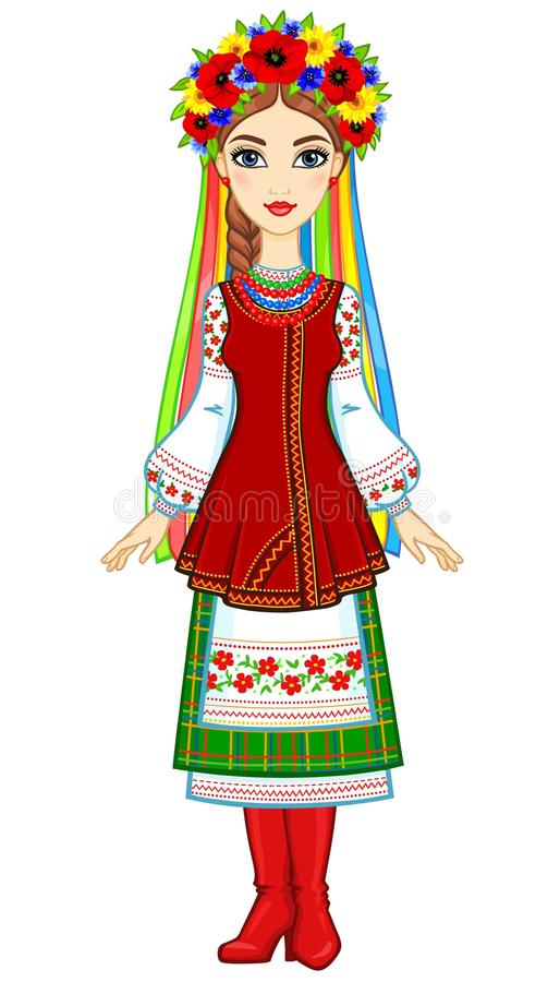 Animation portrait of the young Ukrainian girl in traditional clothes, a wreath and tapes. Full growth. Vector illustration isolated on a white background vector illustration