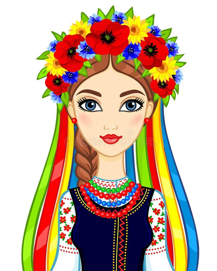 Animation portrait of the young Ukrainian girl in traditional clothes. A wreath and tapes. Vector illustration isolated on a white background royalty free illustration