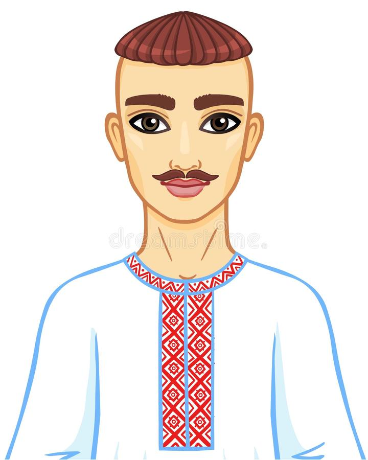 Animation portrait of the young Ukrainian man in national clothes. Eastern Europe. Vector illustration isolated on a white background vector illustration