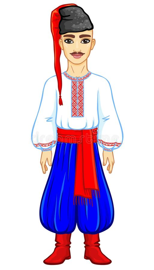Animation portrait of the young Ukrainian man in traditional clothes. Full growth. Vector illustration isolated on a white background royalty free illustration