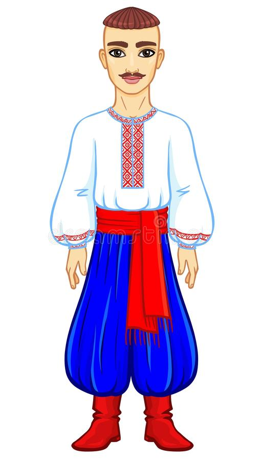 Animation portrait of the young Ukrainian man in traditional clothes. Full growth. Vector illustration isolated on a white background stock illustration