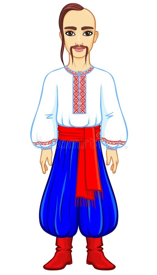 Animation portrait of the young Ukrainian man in traditional clothes. Full growth. Vector illustration isolated on a white background vector illustration