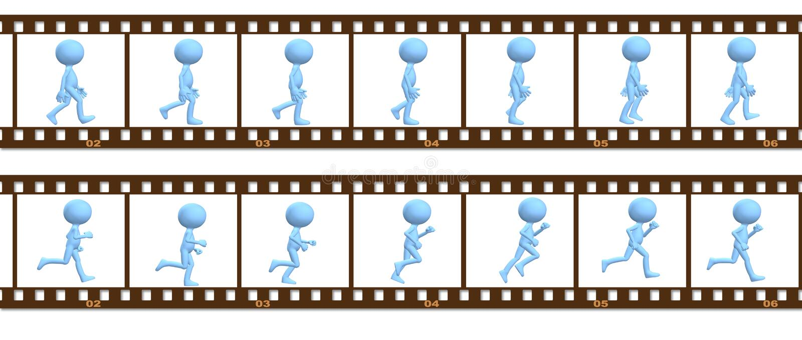 Animation symbol people walk run in cel frames royalty free illustration