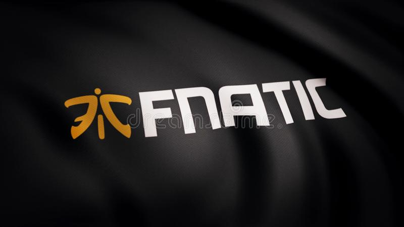 Animation waving flag symbol of professional eSports team Fnatic. A world-class cyber sports team. Editorial use only royalty free stock photography