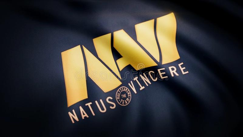 Animation waving flag symbol of professional eSports team Navi Natus Vincere. A world-class cyber sports team. Editorial royalty free stock photo