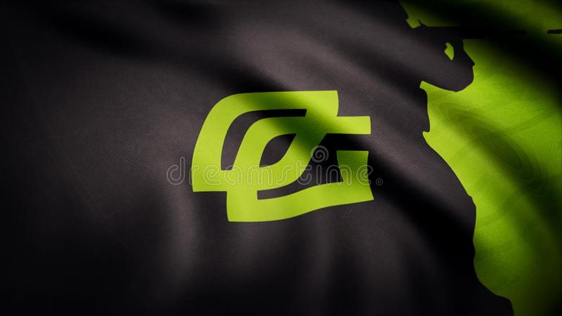 Animation waving flag symbol of professional eSports team OpTic Gaming. A world-class cyber sports team. Editorial use stock photos
