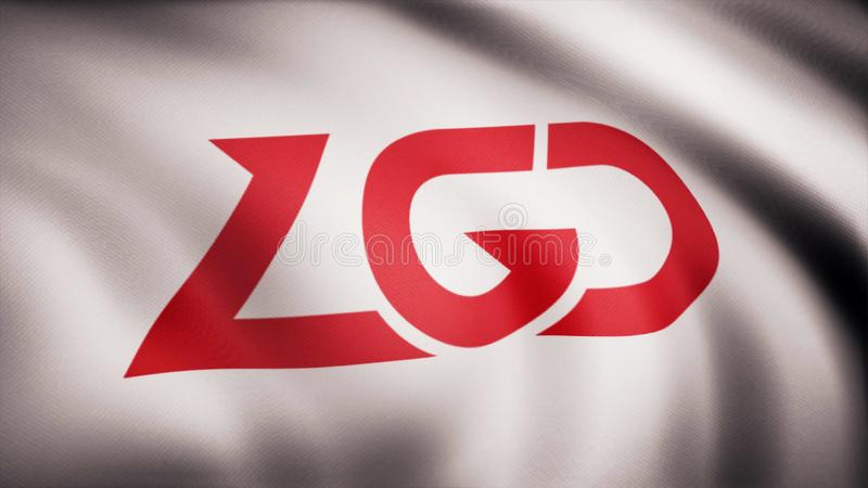 Animation waving flag symbol of professional eSports team PSG.LGD. A world-class cyber sports team. Editorial use only.  stock images